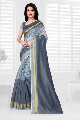 Grey hand woven cotton saree with blouse