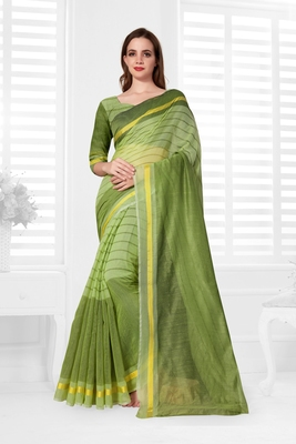 Light yellow hand woven cotton saree with blouse