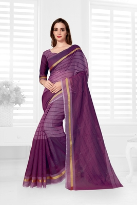 Purple hand woven cotton saree with blouse