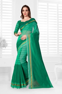 Sky blue hand woven cotton saree with blouse