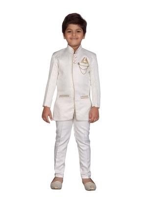 White plain silk blend boys-indo-western-dress