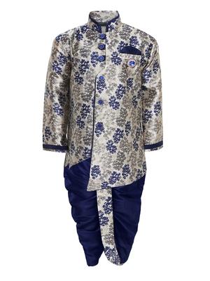 Multicolor printed jacquard boys-indo-western-dress