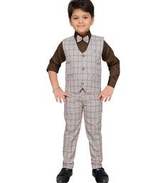 Brown printed cotton silk boys-suit