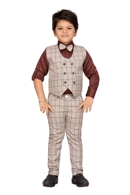 Brown printed blended cotton boys-indo-western-dress