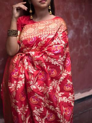 Maroon Meenakari Floral Boota Pure Katan Silk Brocade Banarasi Saree