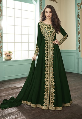 Green embroidered faux georgette salwar