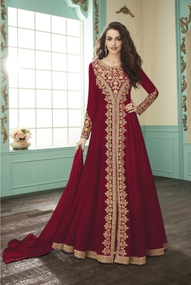 Ruby embroidered faux georgette salwar