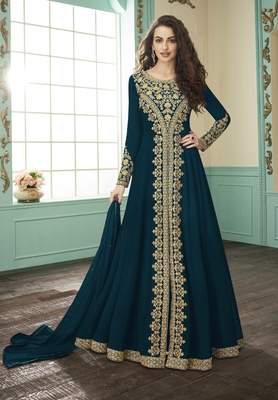 Dark-jade embroidered faux georgette salwar