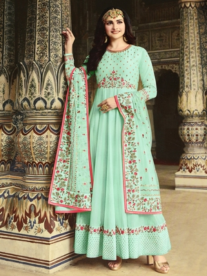 Cyan embroidered silk salwar