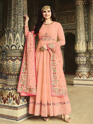 Peach embroidered silk salwar