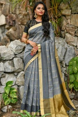 Grey Chanderi Cotton-weaving zari checks weaves saree with Blouse