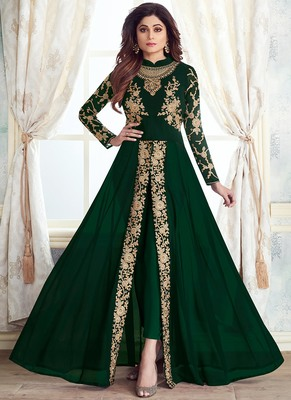 Green Georgette Codding Embroidery work  Semi Suit