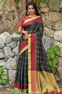Black Chanderi Cotton-weaving zari checks weaves saree with Blouse