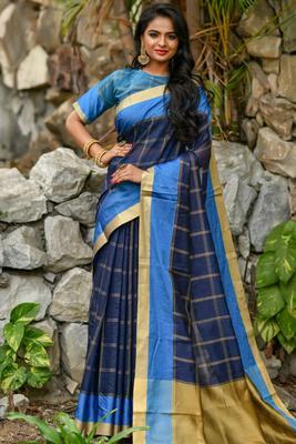 Navy Blue Chanderi Cotton-weaving zari checks weaves saree with Blouse