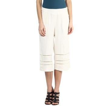 Beige printed viscose trousers