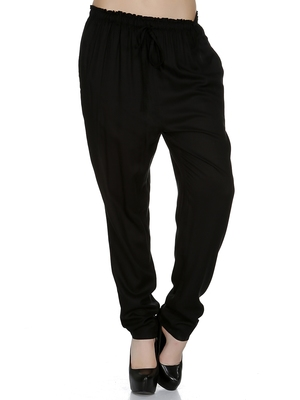 Black printed viscose trousers