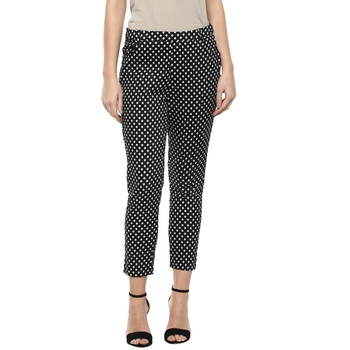 Black printed cotton trousers