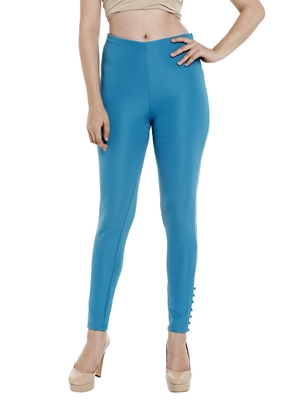Blue printed polyester bottoms