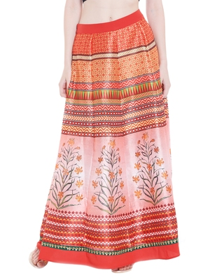 Multicolor printed polyester skirts