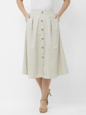Beige printed cotton skirts