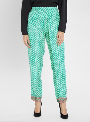Multicolor printed polyester bottoms