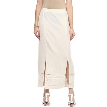 Cream printed viscose skirts