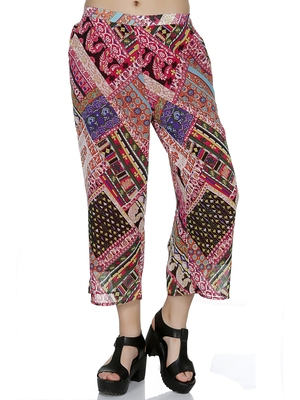 Pink printed polyester bottoms