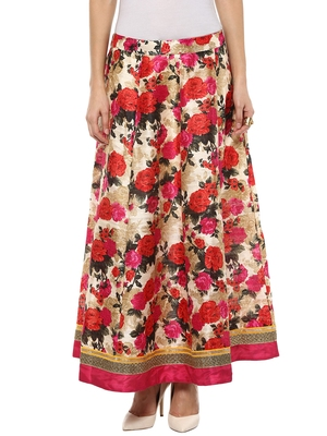 Pink printed polyester skirts