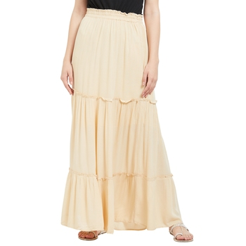 Beige printed viscose skirts