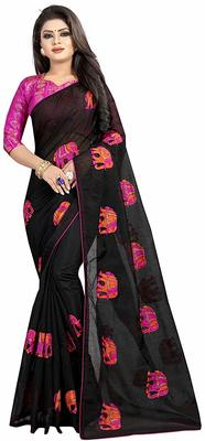 Black Women's Embroidery Work Chanderi Cotton Sari With Blouse Piece