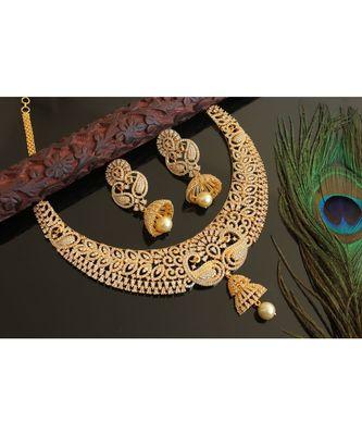 GORGEOUS GOLD PLATED CZ DIAMOND DESIGN REPLICA PEACOCK BRIDAL CHOKER NECKLACE SET-DJ14665
