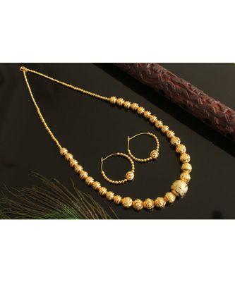 Awesome handmade Golden balls necklace set-Dj17611
