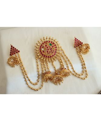 Gorgeous Gold Plated real kemp stones bridal hair jewell