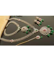 Beautiful Cz Two Tone Ruby Emerald Designer Bridal Set