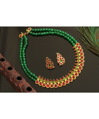 BEAUTIFUL GOLD TONE KEMP-GREEN DESIGNER NECKLACE SET DJ28157