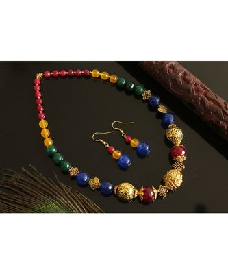 BEAUTIFUL GOLD TONE MULTI COLOR AGATES NECKLACE SET DJ28244