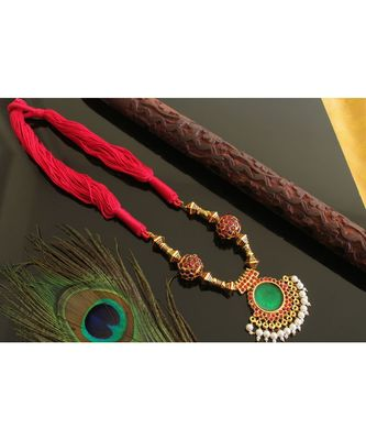 Beautiful Gold Tone Red Green Silk Thread Rudhra Ball Designer Necklace