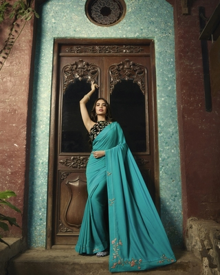 Turquoise printed Chanderi saree with blouse