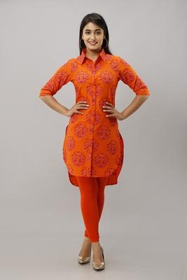 Women's Orange Cotton Slub Buta Printed Straight Kurta