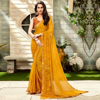 Mustard woven Georgette saree with blouse
