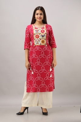 Women's Maroon Silk Cotton Bandhej Printed Straight Kurta