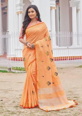 Orange Linen Cotton Embroidery Saree