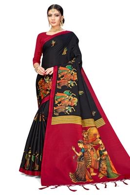 Black Art Silk Printed Saree