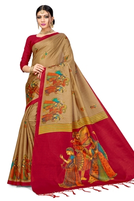 Golden Art Silk Printed Saree