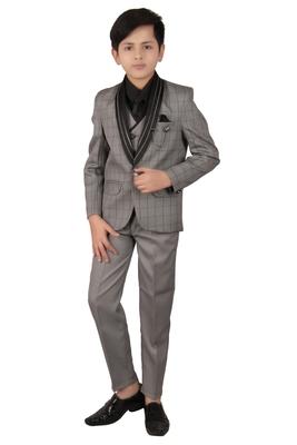 Grey plain polyester boys-suit