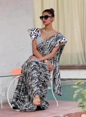 White printed satin saree with blouse