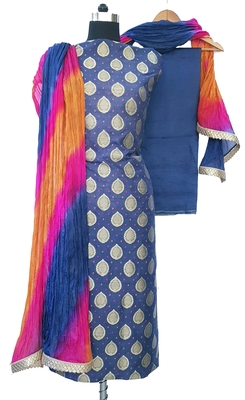 Blue Brocade Cotton Silk Unstitched Suit Fabric