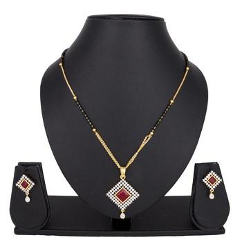 Red diamond mangalsutra
