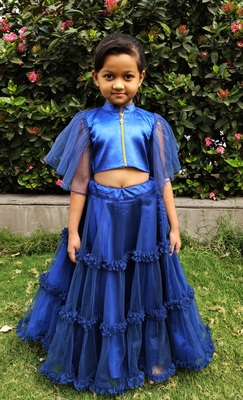 Kids Blue Net With Satin Lehenga Choli Set
