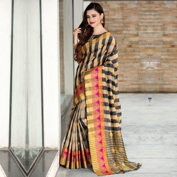 Beige woven Cotton Blend saree with blouse